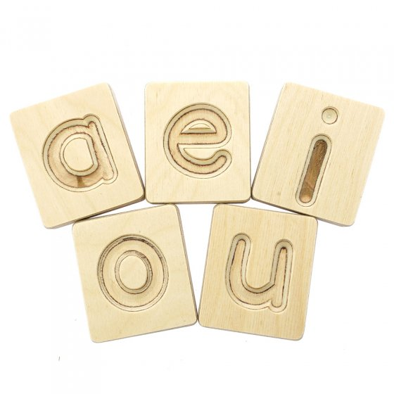Hellion Toys eco-friendly wooden vowel blocks laid out in 2 rows on a white background