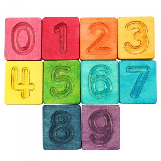 Hellion Toys eco-friendly wooden rainbow number cubes laid out in 3 rows on a white background