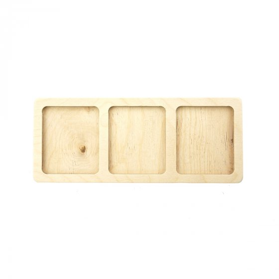 Hellion Toys handcrafted plastic-free 3 cube tray on a white background