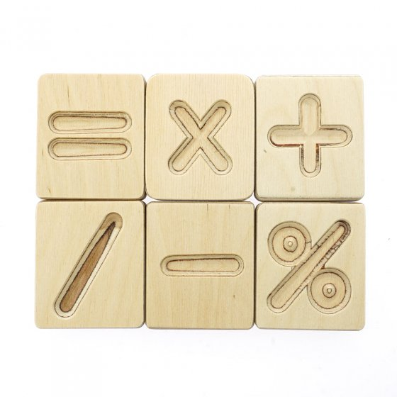 Hellion Toys eco-friendly natural wood math symbol cubes laid out in 2 rows on a white background