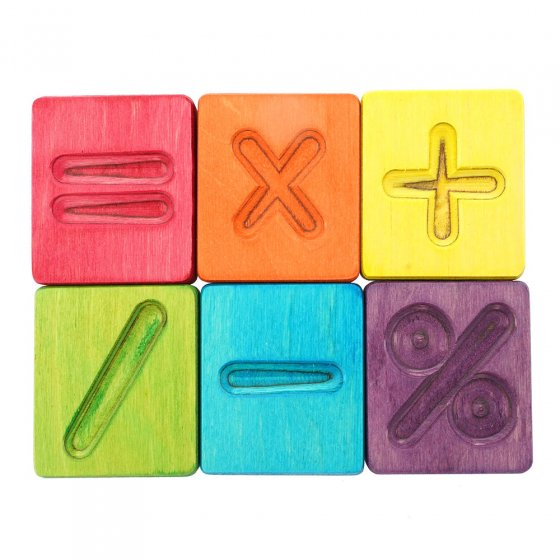 Hellion Toys handcrafted wooden rainbow maths symbols on a white background
