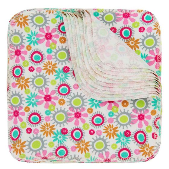 Imse Vimse Cotton Flannel 10 Reusable Wipes - Flower