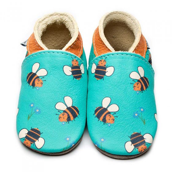 Inch Blue Turquoise Leather Boots with Bees painted on