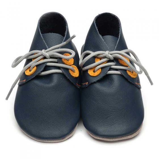 Inch Blue Derby Navy Tangerine Shoes