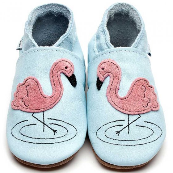Inch Blue Flamingo baby shoes with applique suede flamingo stitched on