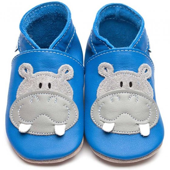 Inch Blue applique grey hippo sewn onto blue leather