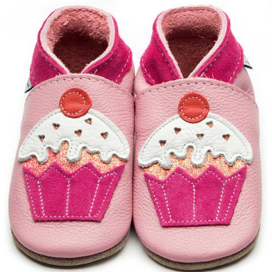 Inch Blue little cupcake pink leather baby shoes with suede collar and sewn on applique cupcake