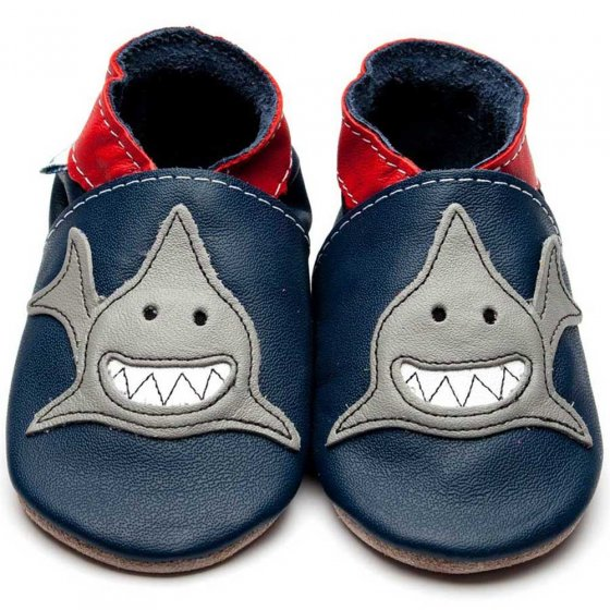 Inch Blue Shark navy leather baby shoes with applique grey grinning shark and red collar