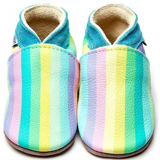 Inch Blue Pastel Rainbow leather baby shoes, light colours and turquoise collar