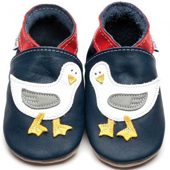 Inch Blue navy leather Seagull applique baby shoes red collar