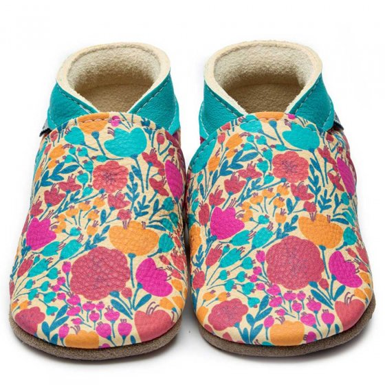 Inch blue Summer bloom baby shoes wild flowers in turquoise, orange, reds and fuscia with turquoise collar