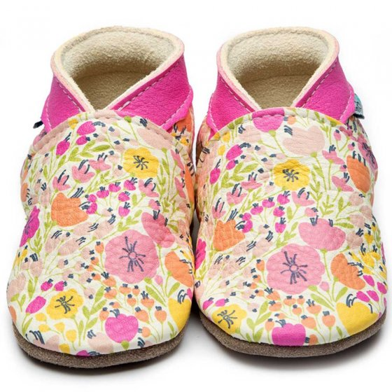 Inch Blue Summer Blush wild flowers in soft pinks yellows and peaches with pink collar, leather baby shoes