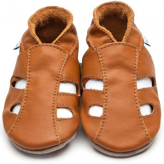 Inch Blue caramel leather sandals baby shoes