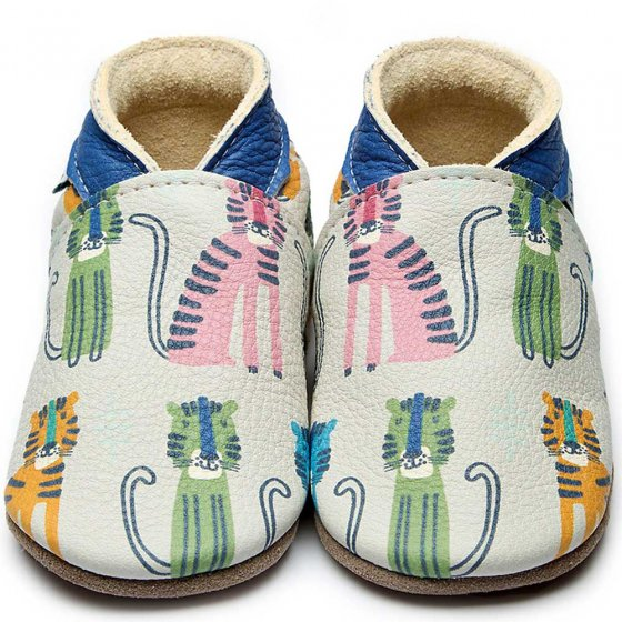 Inch Blue tiger pride leather baby shoes with tiger sitting down in green, yellow and pink