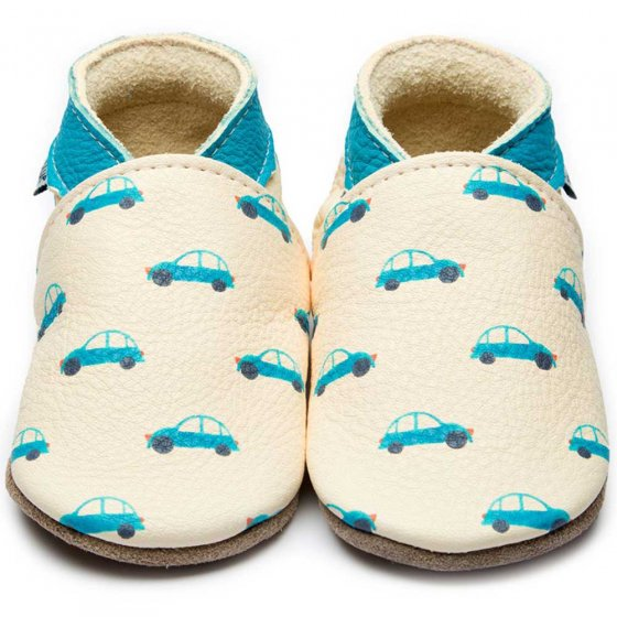 Inch Blue Vroom Vroom baby shoes cream leather with blue cars painted on