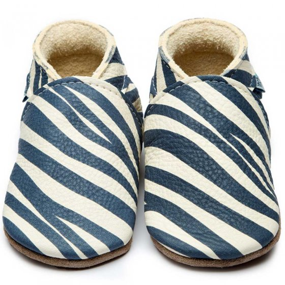 Inch blue wild child leather baby shoes with navy zebra stripes