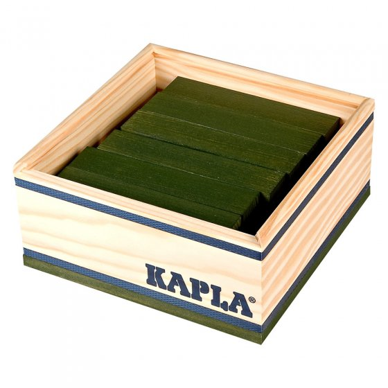 Kapla eco-friendly green wooden building blocks set on a white background