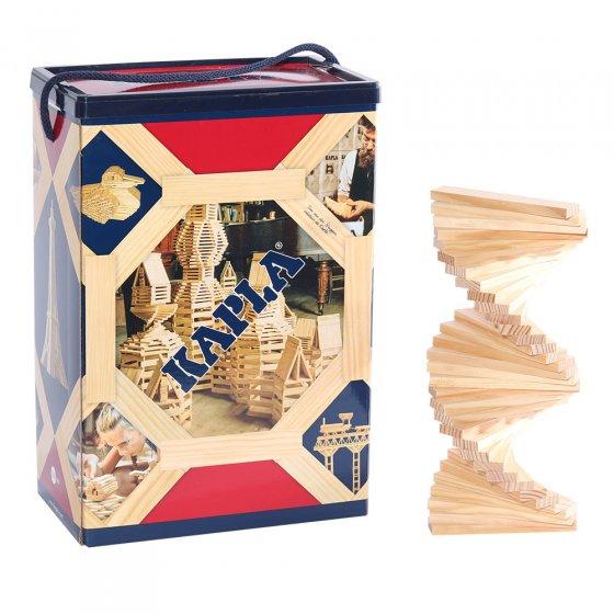 Kapla eco-friendly natural wooden block set on a white background