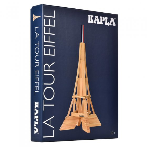 Kapla eco-friendly wooden Eiffel Tower building set on a white background