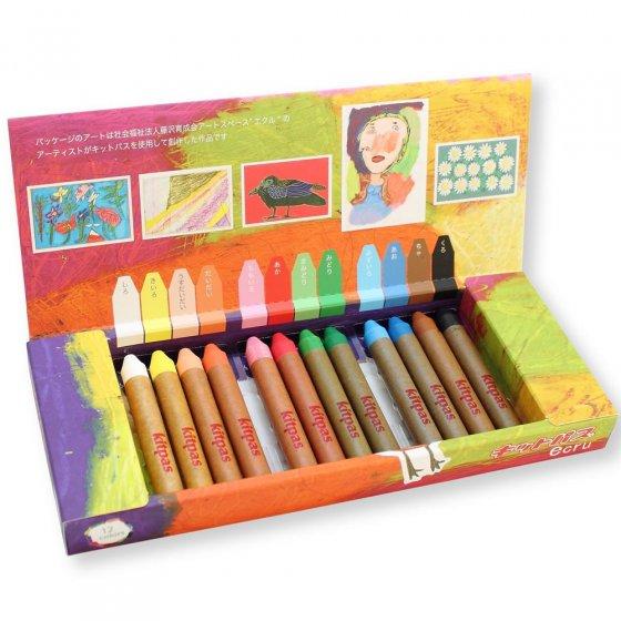Kitpas Ecru 12 Coloured Crayons Set