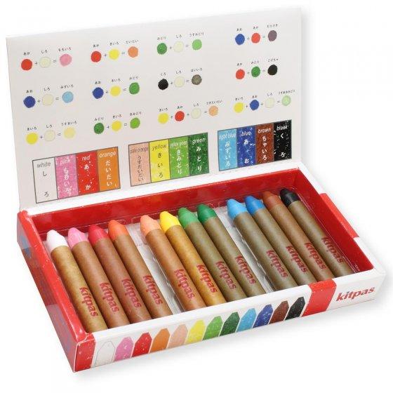 Kitpas Medium 12 Coloured Crayons