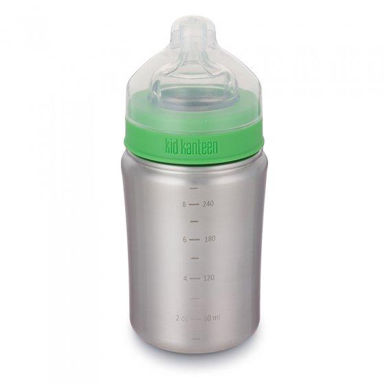 Klean Kanteen Kid Kanteen 9oz stainless steel baby bottle on a white background