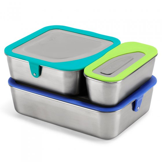 Klean Kanteen reusable food box set stacked on top of one another on a white background