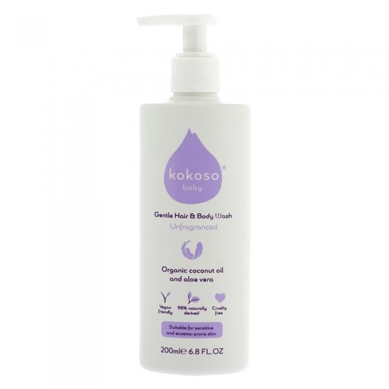 Kokoso unscented organic baby and body wash on a white background