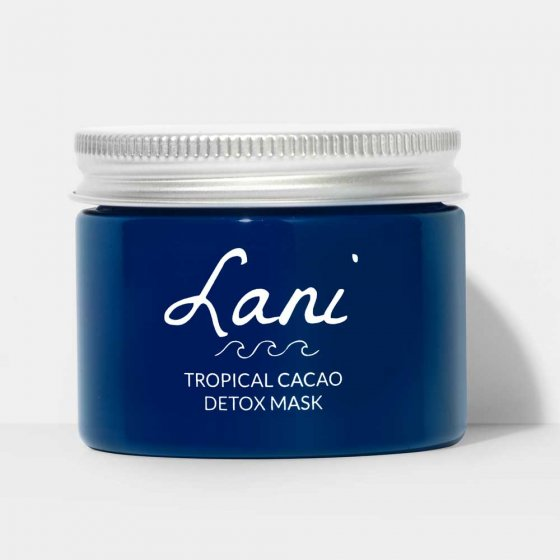 Lani Tropical Cacao Detox Mask vegan, plastic free and cruelty free beauty. Blue pot on white background.