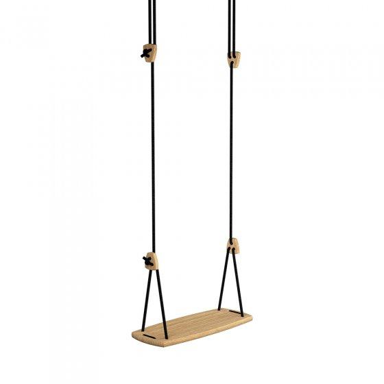 Lillagunga eco-friendly black oak wood rope swing on a white background