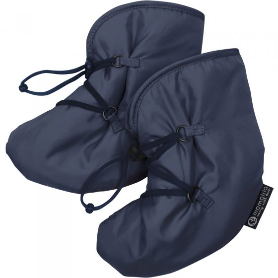 Mamalila Quilted Berlin Booties in Navy. Warm, padded snow booties for babywearing on a white background