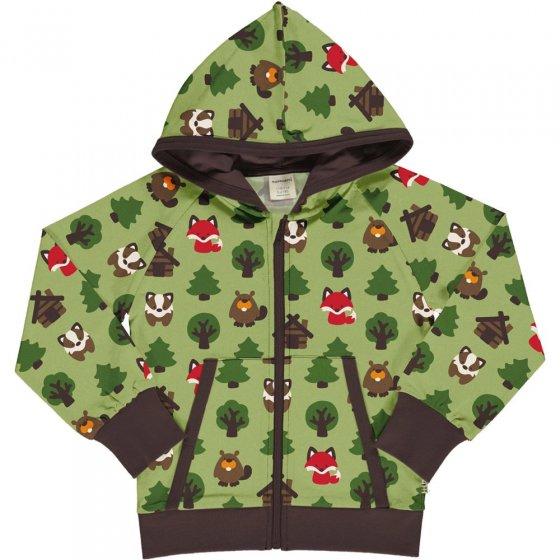 Maxomorra Green Forest Hooded Sweat Cardigan