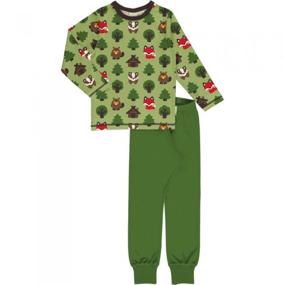 Maxomorra Green Forest LS Pyjama Set
