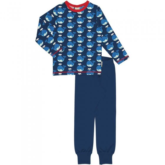 Maxomorra LS Whale Pyjama Set