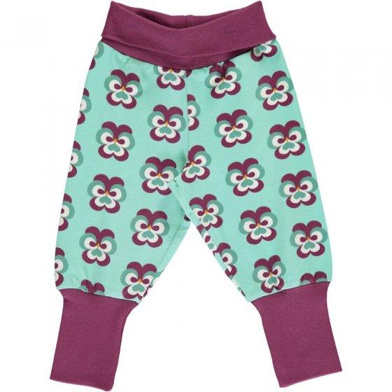 Maxomorra Purple Pansy Rib Pants