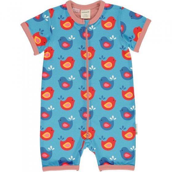 Maxomorra Bright Birds SS Zip Romper Suit