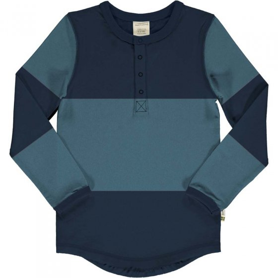 Maxomorra Navy & Sky Block Slim Button LS Top