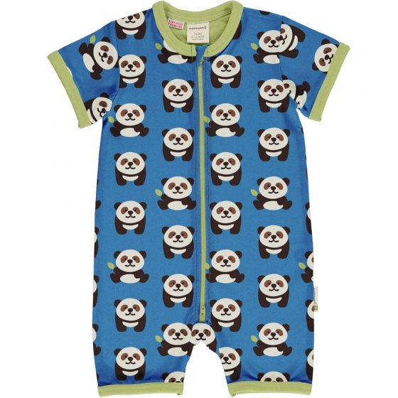 Maxomorra Playful Panda SS Zip Romper Suit