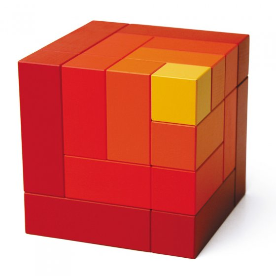 Red Naef Cubicus Wooden cube toy on a white background