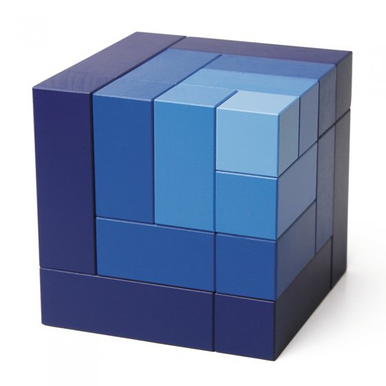 Blue Naef Cubicus toy stacked in its original cube form on a white background.