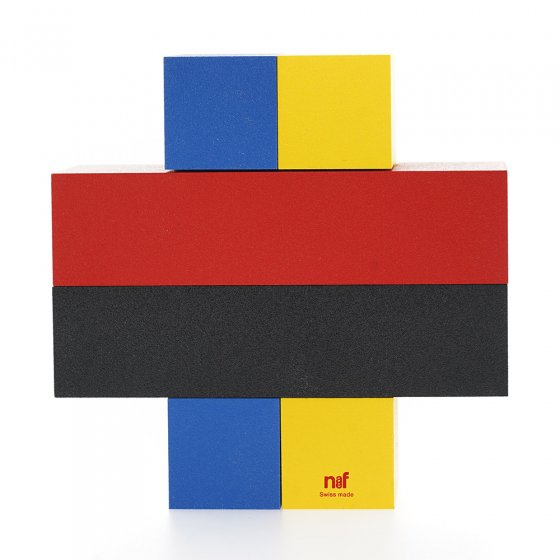 Naef Quadrigo stacking shape toy in a cross shape on a white background.