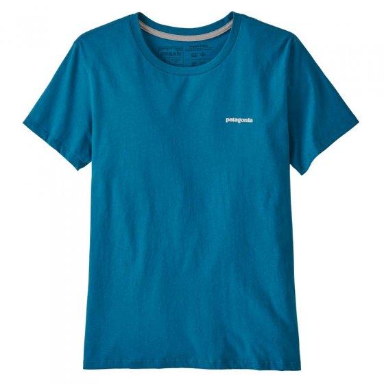 Patagonia Women's P-6 Logo Organic Crew T-Shirt Steller Blue