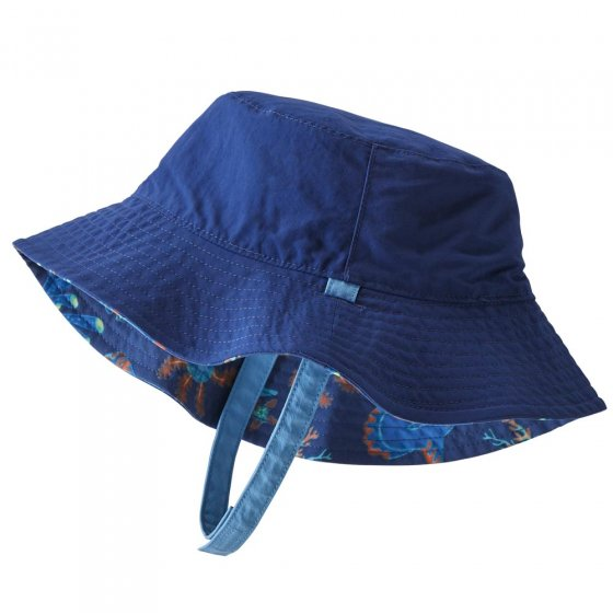Picture of the solid blue block side of the reversible baby bucket hat. Picture background is white.