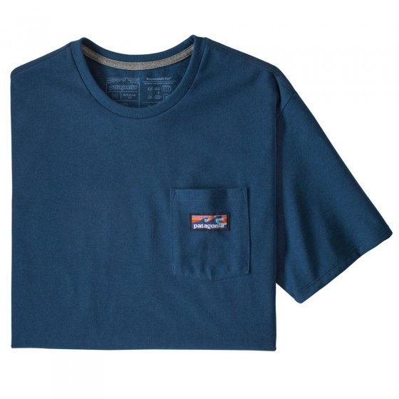 Picture of the recycled crew neck t-shirt in blue. Picture background is white.