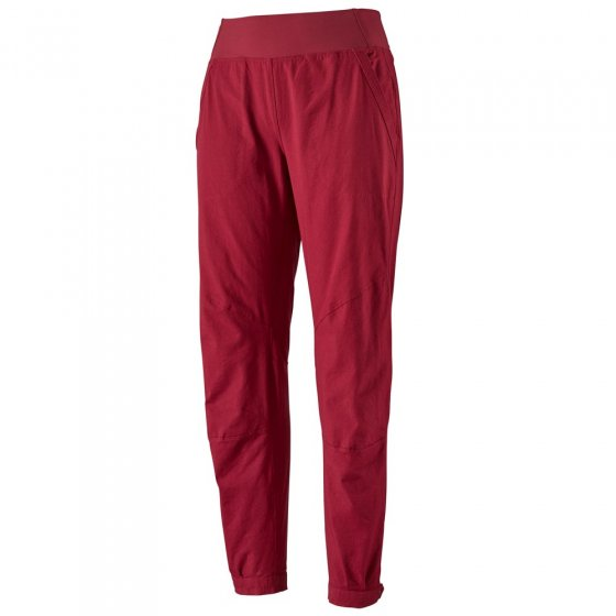 Picture of the Patagonia Caliza red rock pants. Picture has a white background.