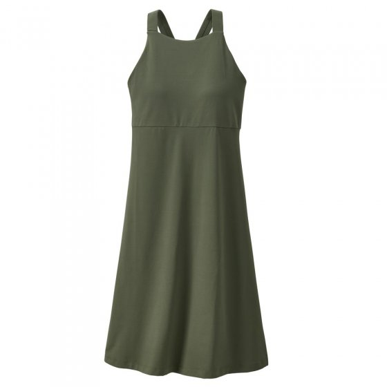Picture of the green spring dress front facing. Picture background is white.