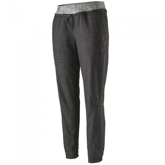 Picture of the Patagonia Hampi Rock Pants in black. Picture of background is white.