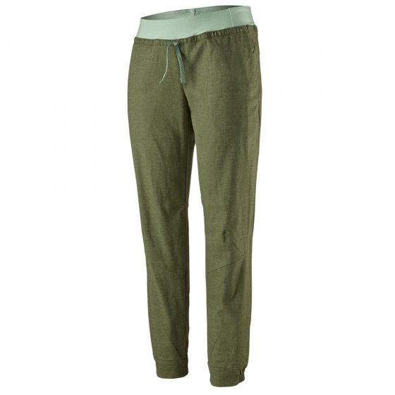 Picture of Patagonia Hampi Rock climbing pants in green. Picture has white background.