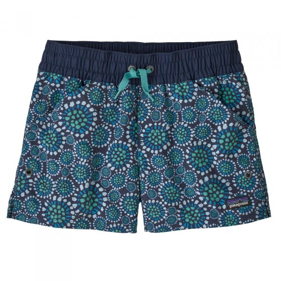 Picture of the Costa Rica baggie shorts in a tropical bloom pattern. Picture background is white.