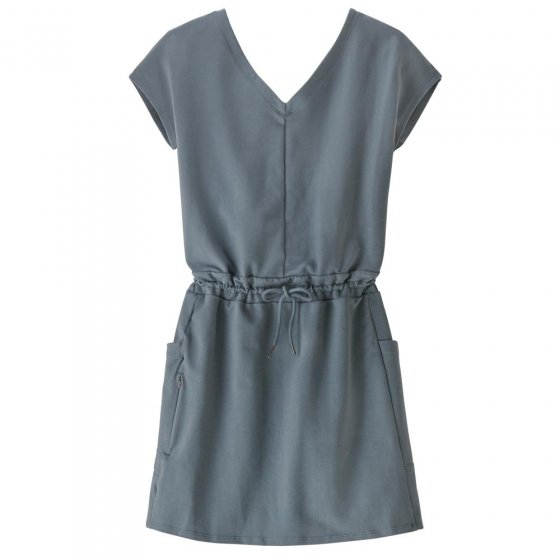 Picture of the Roaming plume grey dress. Picture background is white.